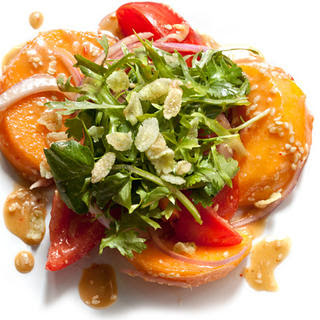 Persimmon Salad with Sesame Vinaigrette