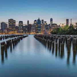 NY Brooklyn Bridge park  by Jimal Essa - City,  Street & Park  Night