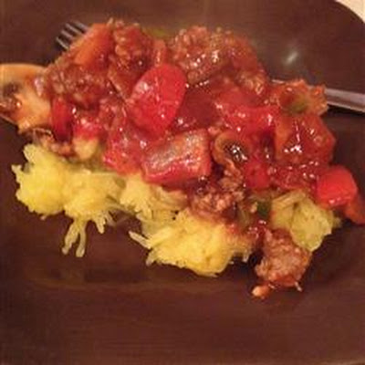 Winter Red Sauce over Spaghetti Squash