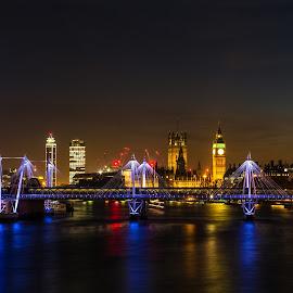 London Nightline by Stephen Bridger - City,  Street & Park  Night ( skyline, europe, travel, united kingdom, nightscape, england, london eye, london, night photography, city lights, night, bridge, big ben, travel photography )