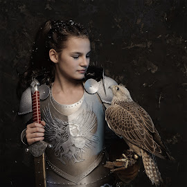 Dialogue by Mike Mashihin - Babies & Children Child Portraits ( old, princess, armor, falcon, medieval, sword, knight,  )