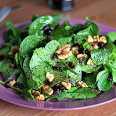 Cranberry, Walnut, and Chia Seed Spinach Salad with Lemon Balsamic Dressing