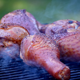 Turkey Legs On the Grill by Lin Fauke - Food & Drink Meats & Cheeses ( grill, meat, pepper, turkey, bbq, smoke )