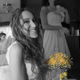 Yellow Bouquet by Marsha Biller - Wedding Bride ( sitting, selective color, yellow bouquet, bride, smiling, desaturated, pwc )