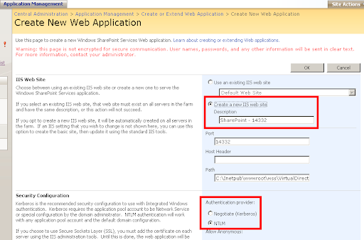 Create a new IIS web site - Authentication provider
