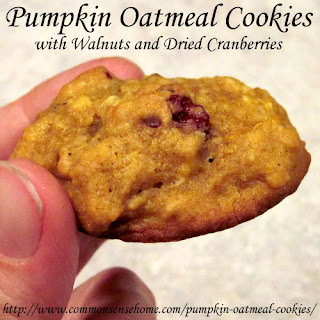 Pumpkin Oatmeal Cookies with Walnuts and Dried Cranberries