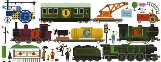 Google Doodle Frank Hornby's 150th Birthday