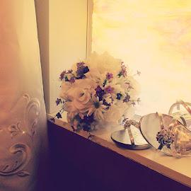 A BRIDE'S NECESSITIES by Rena Spitzley - Wedding Details ( bouquet, wedding photography, wedding dress, heels, bride,  )