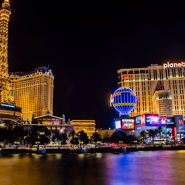 Vegas by Charles McWhirter - City,  Street & Park  Street Scenes ( lights, las vegas, water, color, night,  )
