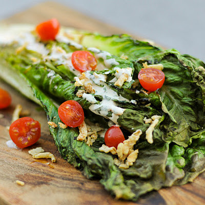 Romaine Salad with Spicy Ranch, Tomatoes, and Fried Onions