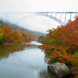 bridge over fog by Julio Torres - Landscapes Waterscapes ( red, west virginia, fall, leaves )