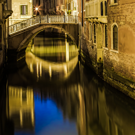 Venice in the morning by Gary Beresford - City,  Street & Park  Street Scenes ( reflection, starburst, venice, long exposure, bridge, canal, italy )