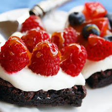 Brownie, Cream and Fresh Fruit Tarts