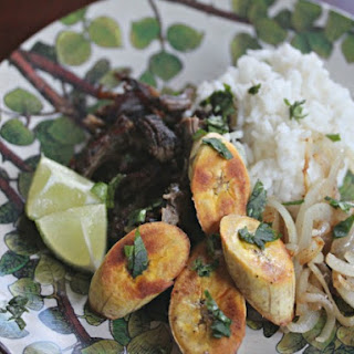 Crispy, Shredded Cuban Beef With Pan-Fried Onions and Plantains