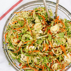 Asian Brussels Sprout Slaw with Carrots and Almonds