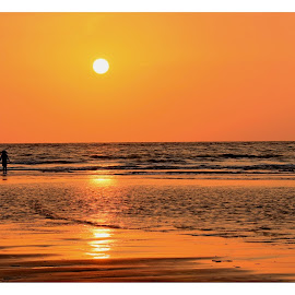 Aks by Sumit Kumar - Landscapes Beaches ( reflection, sunset, silhouette, beach, sun )