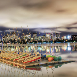 Boston River Boats  by Nachau Kirwan - City,  Street & Park  Night