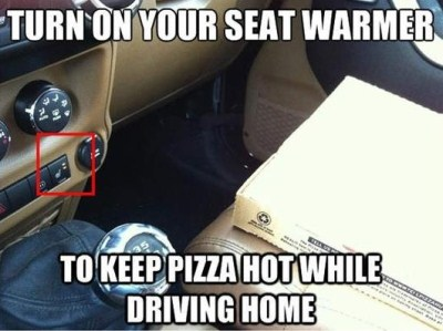 seat warmer to keep takeaway pizza hot