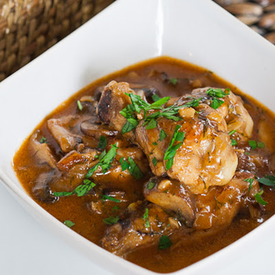 Mushroom and Chicken in Beer Sauce