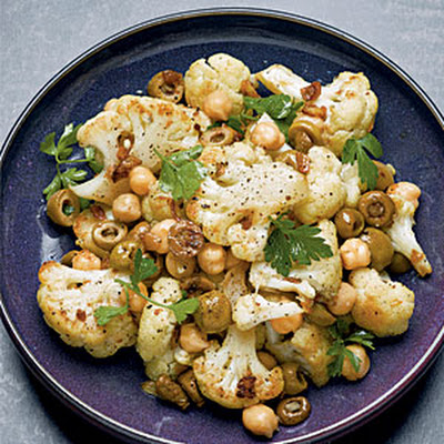 Roasted Cauliflower, Chickpeas, and Olives