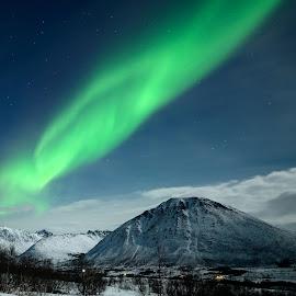 Aurora over the snowclouds by Marius Birkeland - Landscapes Weather ( clouds, northern lights, aurora borealis, aurora, norway )