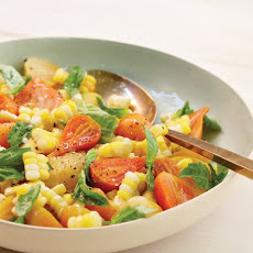 Sweet Corn with Baby Beets and Basil