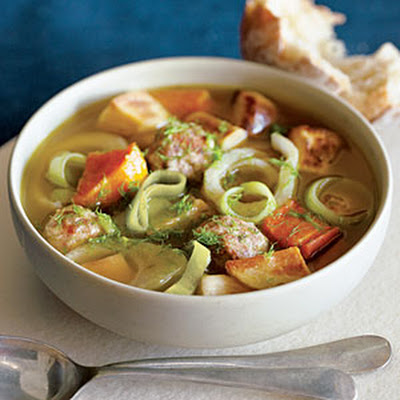 Caramelized Vegetable and Meatball Soup