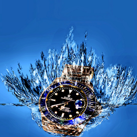 Untimely by Lawrence Ferreira - Digital Art Things ( water, macro, splash, underwater, artsy, watch, digital art, digital photography, closeup )