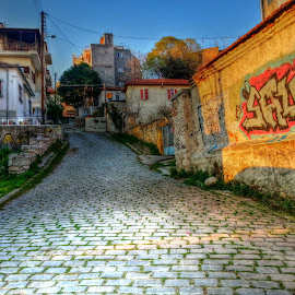 In Drama by Stratos Lales - City,  Street & Park  Neighborhoods ( houses, graffiti, neighborhood, pavement, colours )