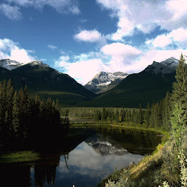Hidden Lake by Ron Jnr - Landscapes Waterscapes ( clouds, mountains, blue sky, backroad, canada, snow, reflections, lake, tree's, rockies, landscape photograph )