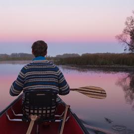 Morning chase by Jamie Cooper - Sports & Fitness Watersports ( water, canoeing, camp, watersports, camping, canoe, paddlesports, sunrise, paddle )