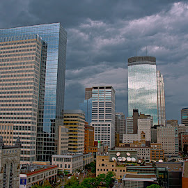 Rainy Day in Minneapolis by Doug Wallick - City,  Street & Park  Skylines ( roof, urban, reflection, skyline, minnesota, church, minneapolis, overcast, rain, top )