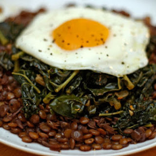 Braised Lentils with Winter Greens and a Fried Egg