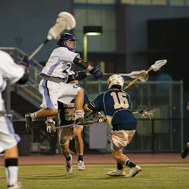 Going high by Kevin Mummau - Sports & Fitness Lacrosse ( score, attack, shot, lacrosse, jump )