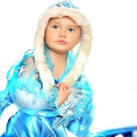 Little Ms. Frozen by Eric Stachurski - Babies & Children Child Portraits ( baby girl, movie, baby in blue dress, frozen, disney, girl in winter dress, blue dress, winter, dress, snow, blue eyes, baby photography, girl portrait )