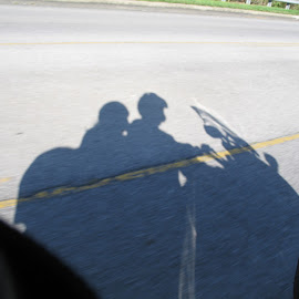 Shadow Riders by Kaye Petersen - Transportation Motorcycles ( shadow, motorcycle, couple, triumph, pavement, riders,  )
