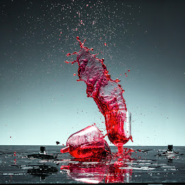 by Todor Lichev - Abstract Water Drops & Splashes ( wine, red, splash photography )