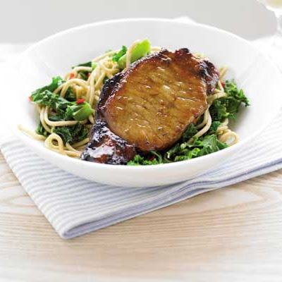 Sticky Pork With Gingered Noodles & Kale