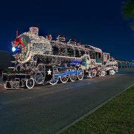 Steam Engine No 794 by Glenn Stuart - Public Holidays Christmas ( texas, christmas lights, san antonio, christmas, train, steam engine no794 )