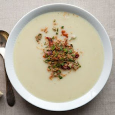 Creamy Cauliflower Soup with Crispy Pancetta and Gremolata