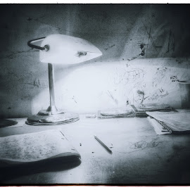 Untitled 15 by Nick Cordan - Artistic Objects Other Objects ( black and white, still life, paper, desktop, desk, light, pens )