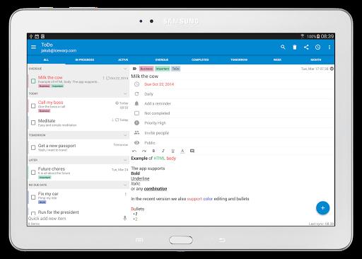 Tasks & Notes for MS Exchange - screenshot