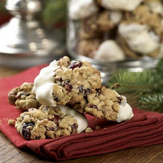 White Chocolate-Dipped Oatmeal-Cranberry Cookies