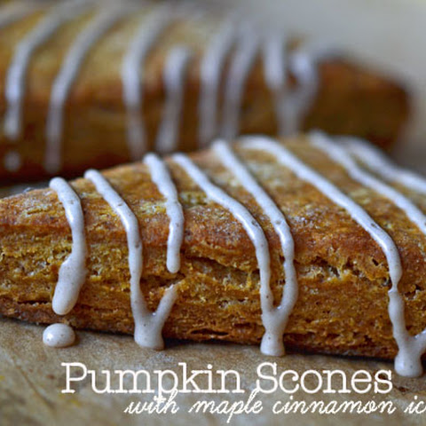 Pumpkin Scones with Maple Cinnamon Icing (an after Thanksgiving treat!)
