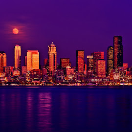 Full Moon Rising Over Seattle. by Chris Kontoravdis - City,  Street & Park  Skylines ( moon, skyline, seattle, blue hour, buildings, sea )