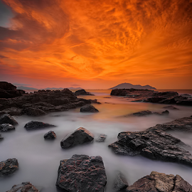 burning sky by Michael Therendo - Landscapes Beaches ( sunset, beach, seascape, landscape, rocks )