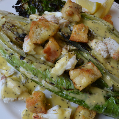 Grilled Romaine with Crab and Lemon Poppy Seed Dressing