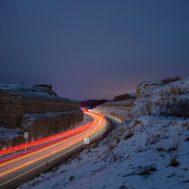 Trails Through The Night by Eric Brown - Landscapes Travel ( winter, cold, cars., colors, eric, brown, trails, light )