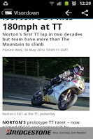 Screenshot of Visordown Motorcycle News