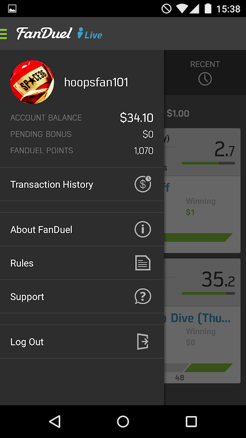 FanDuel Live Scoring Screenshot 4